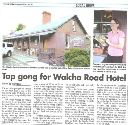 Armidale Independent story on the Good Pub Food Guide 2012 Award